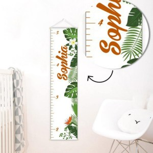 A perfect way to keep track of your little one's growth, the Tropical Decor Personalised Baby Growth Chart will brighten up any child's bedroom as well as provide a fun way to measure height.
