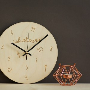 With a sophisticated and functional look, the Whatever I'm Late - Wooden Wall Clock will add an element of starry spirit to any room.