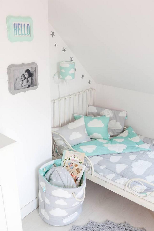 Mint & Grey Clouds Children's Bedding Set