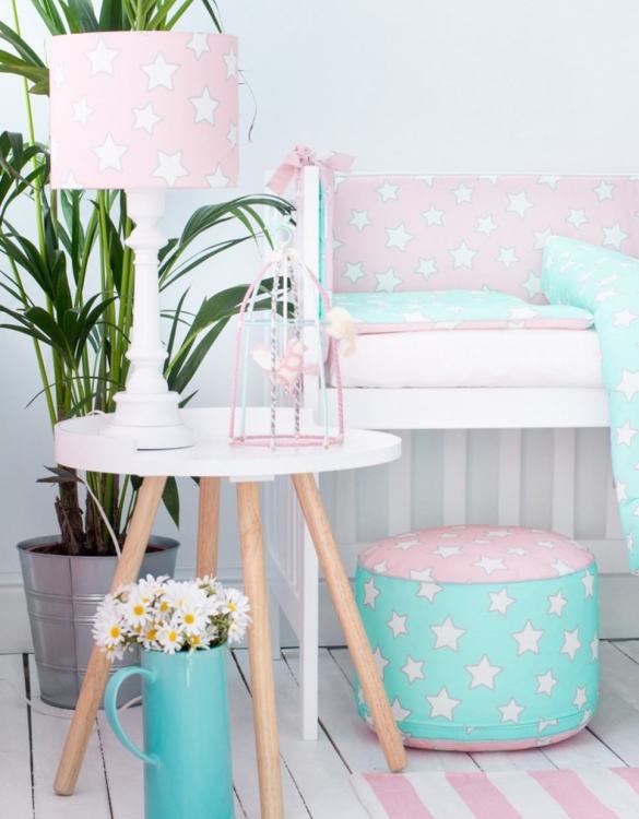 An incredibly useful and functional accessory for your baby's cot, the Pink & Mint Stars Crib Bumper ensures a cosy and soft environment for your baby.