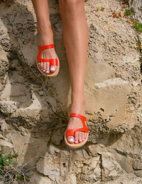 Aries Coral Red Greek Leather Sandal – 2