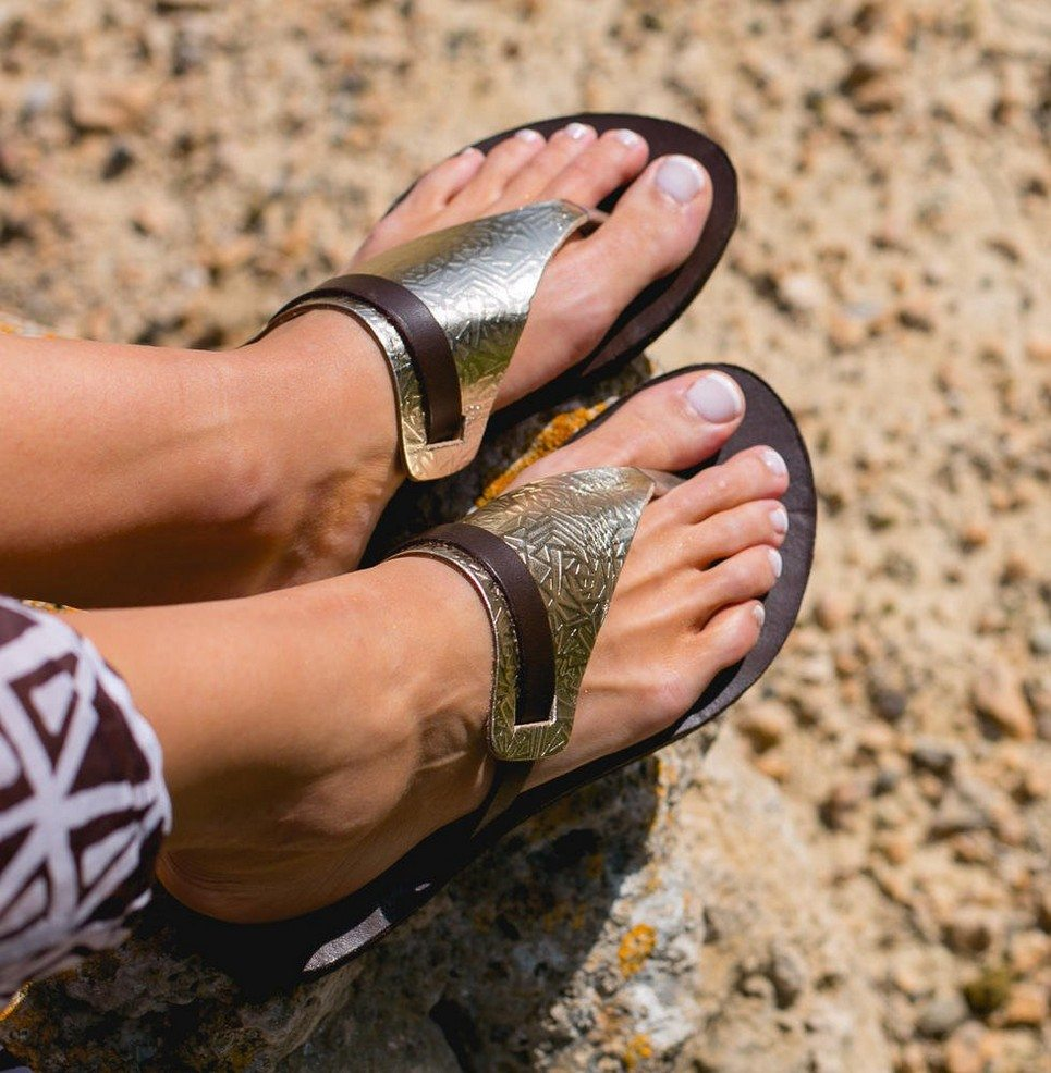 Artemis Gold and Brown Greek Leather Sandal