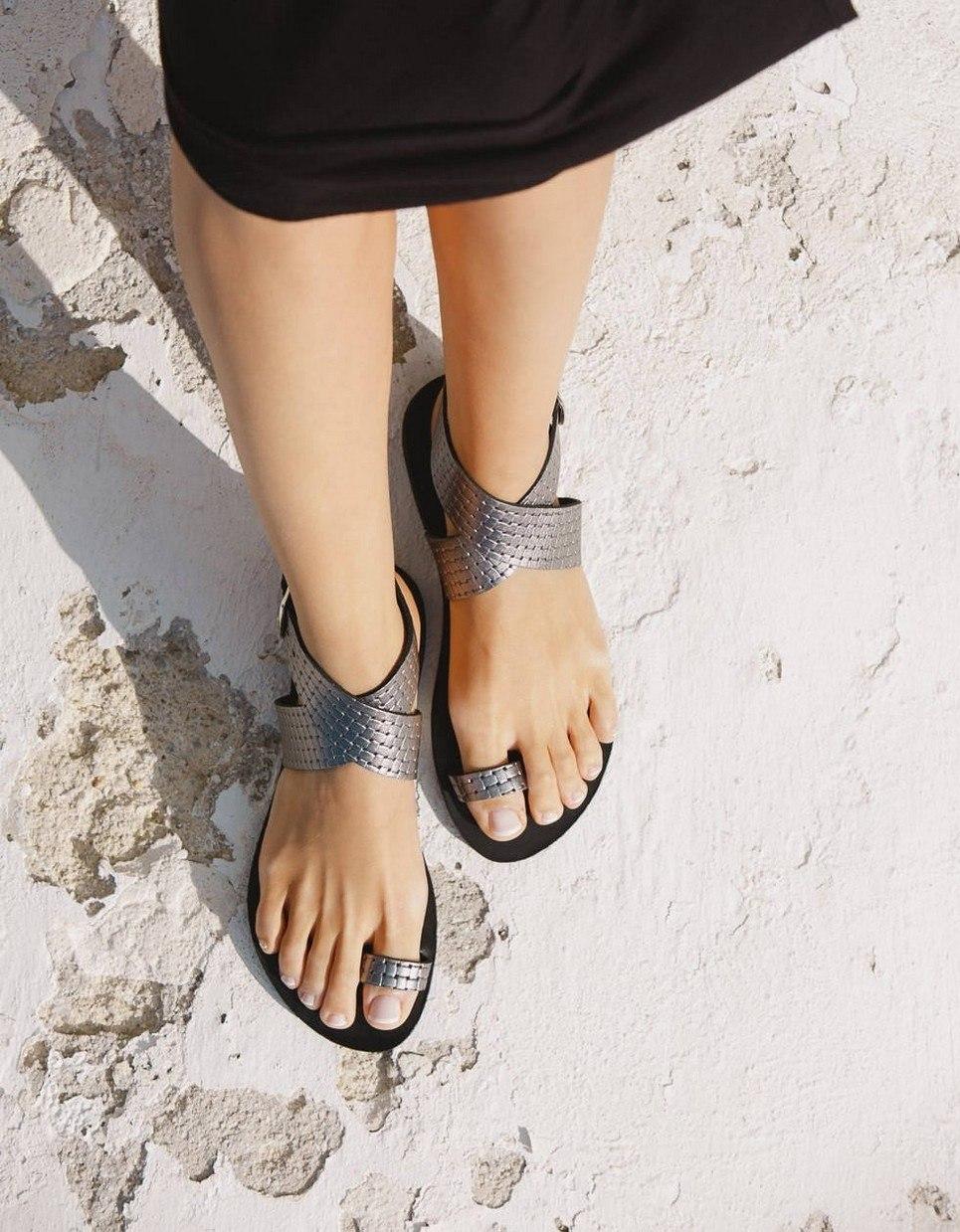 Dione Nicel Collander Greek Leather Sandal