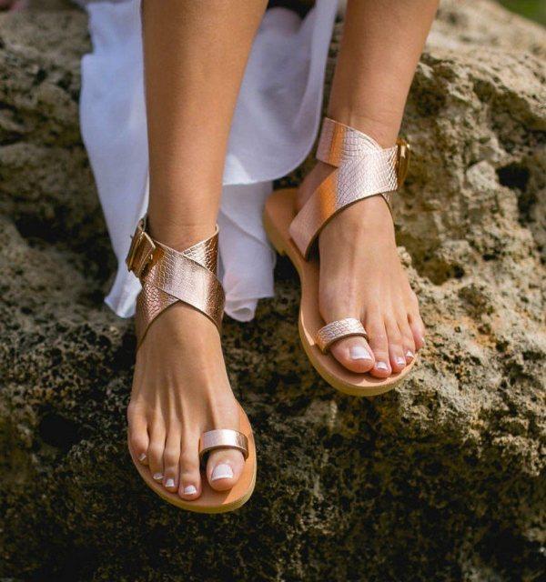 Dione Snake Rose Gold Greek Leather Sandal – 3