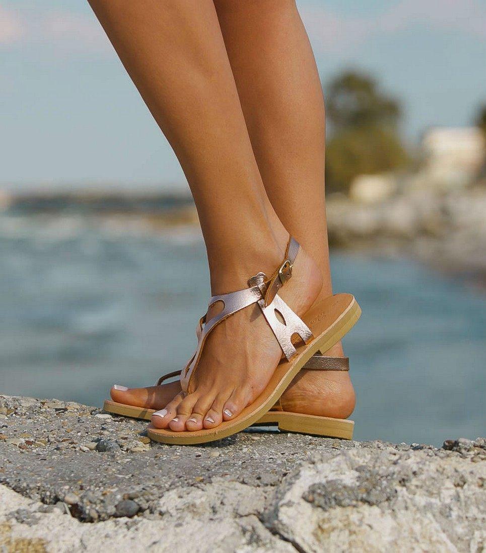 Eros Rose Gold Greek Leather Sandal – 4
