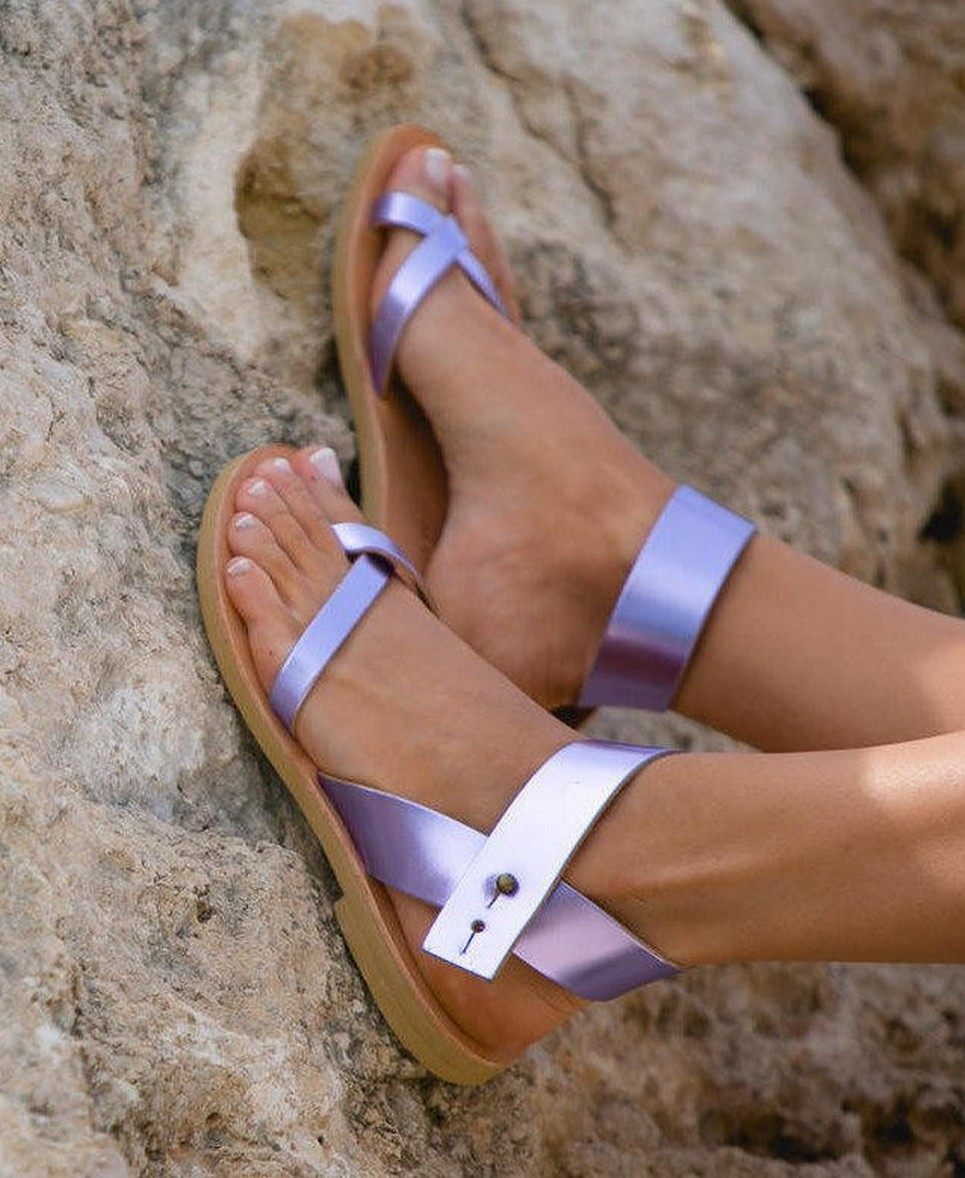 Penelope Metallic Purple Greek Leather Sandal