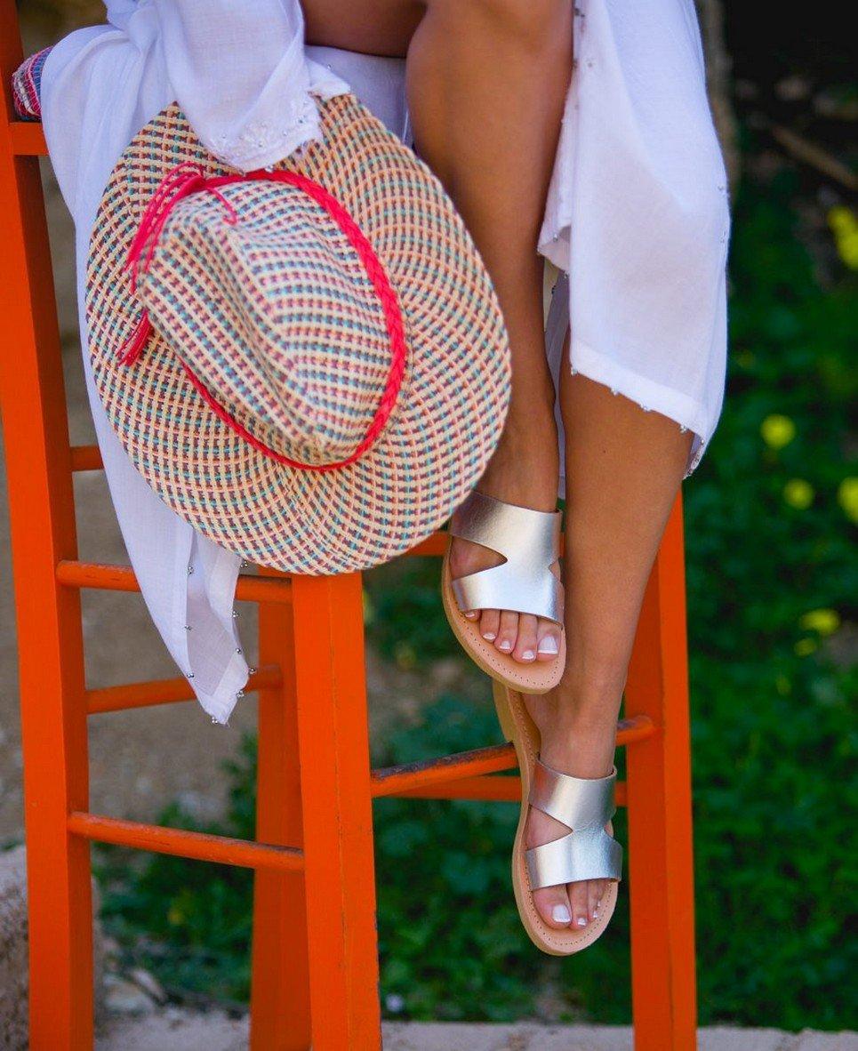 Pythia Silver Greek Leather Sandal