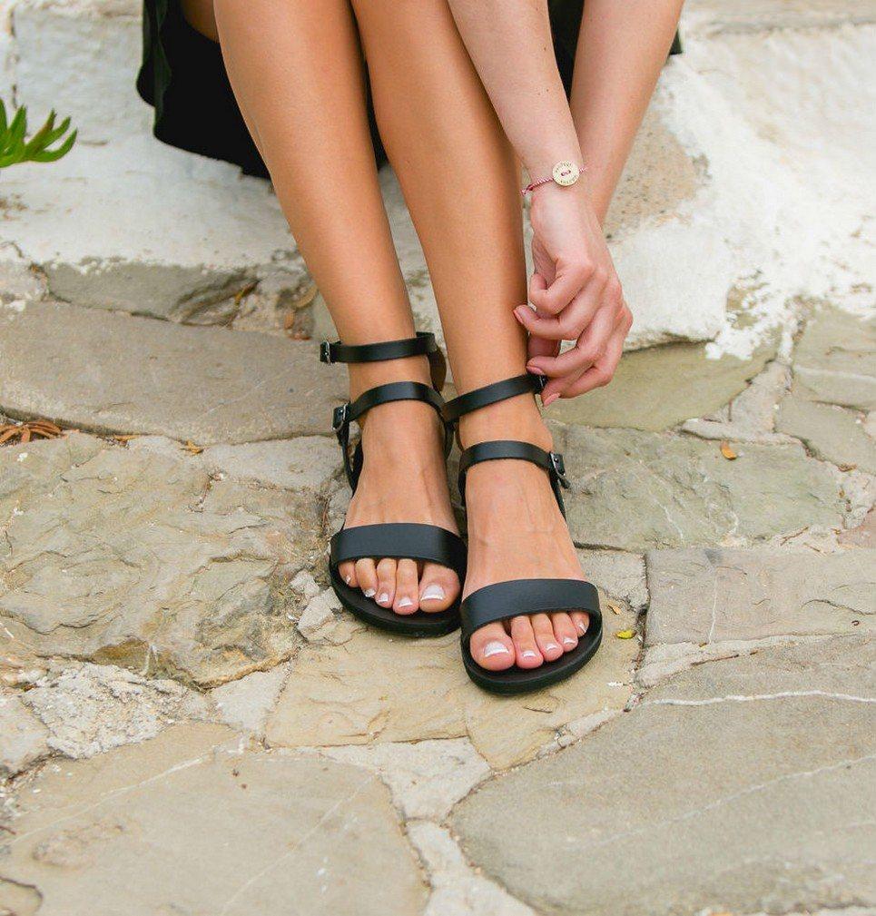 Urania Black Greek Leather Sandal – 4