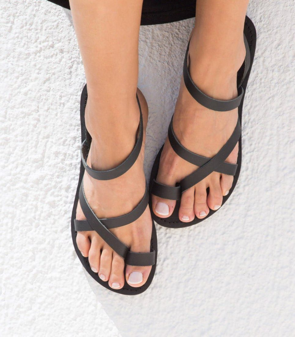 Kleio Black Greek Leather Sandal