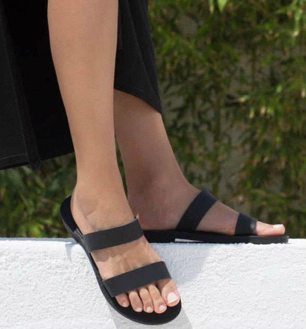 Xanthe Black Greek Leather Sandal – 2