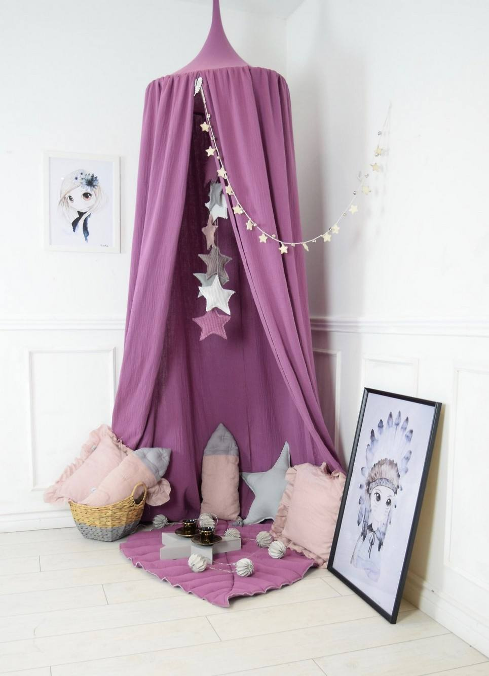 Baldachin Blueberry Pink Children's Bed Canopy