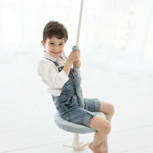 A lovely gift for a little girl or boy, the Gray Velvet Round Wooden Swing Set is perfect for home, backyard or terrace use.