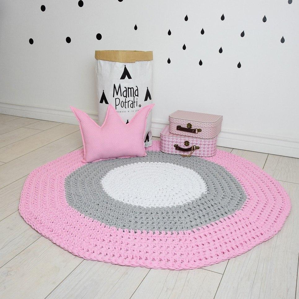 Pink, Gray and White Children Crochet Rug