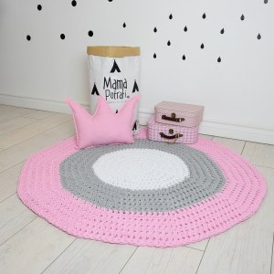 A one-of-a-kind addition to timeless interiors, the Pink, Gray and White Children Crochet Rug offers a relaxed comfortable feel of elegance for the modern home.