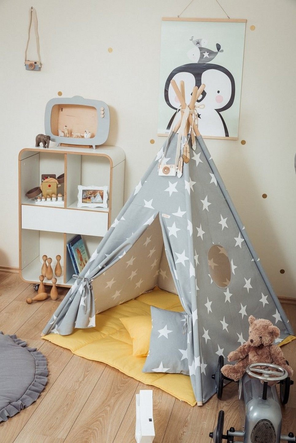 Large Stars Children's Teepee Set with Yellow Mat