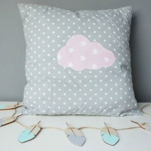 A perfect way to add a touch of magic to a bedroom or nursery, the Grey With Pink Cloud Decorative Square Pillow would make a wonderful gift for a new baby girl, christening, or naming day and would be the perfect finishing touch for a child's nursery or bedroom.