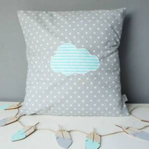 A perfect way to add a touch of magic to a bedroom or nursery, the Grey With Turquoise Cloud Decorative Square Pillow would make a wonderful gift for a new baby girl, christening, or naming day and would be the perfect finishing touch for a child's nursery or bedroom.