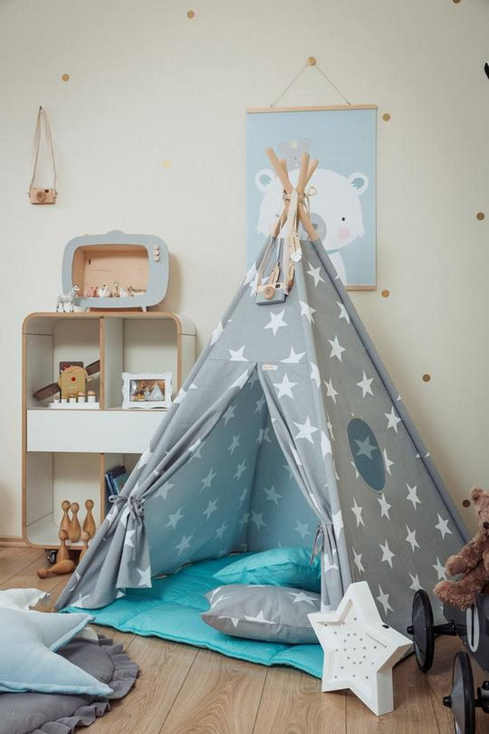 Large Stars Children's Teepee Set with Sky Blue Mat