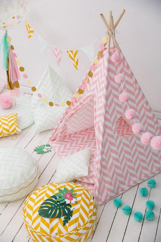 Pink Herringbone Children's Teepee Set