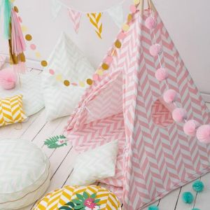 Let your little ones create their own little world with the Pink Herringbone Children's Teepee Set. It creates the perfect setting for imaginative role play providing endless hours of fun.
