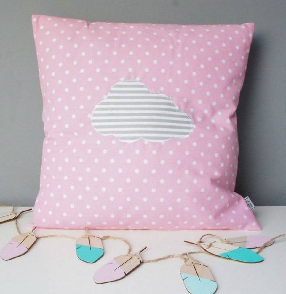 Pink With Grey Cloud Decorative Square Pillow – 1