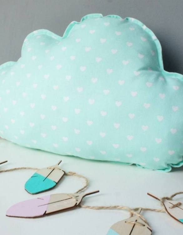 A perfect way to add a touch of magic to a bedroom or nursery, the Small Cloud Mint Decorative Pillow would make a wonderful gift for a new baby girl, christening, or naming day and would be the perfect finishing touch for a child's nursery or bedroom.