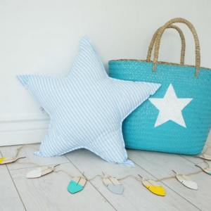 A perfect way to add a touch of magic to a bedroom or nursery, the Big Blue Star Decorative Pillow would make a wonderful gift for a new baby girl, christening, or naming day and would be the perfect finishing touch for a child's nursery or bedroom.