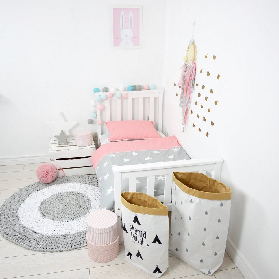 Coral Pink and Grey Baby Crib Bedding Set