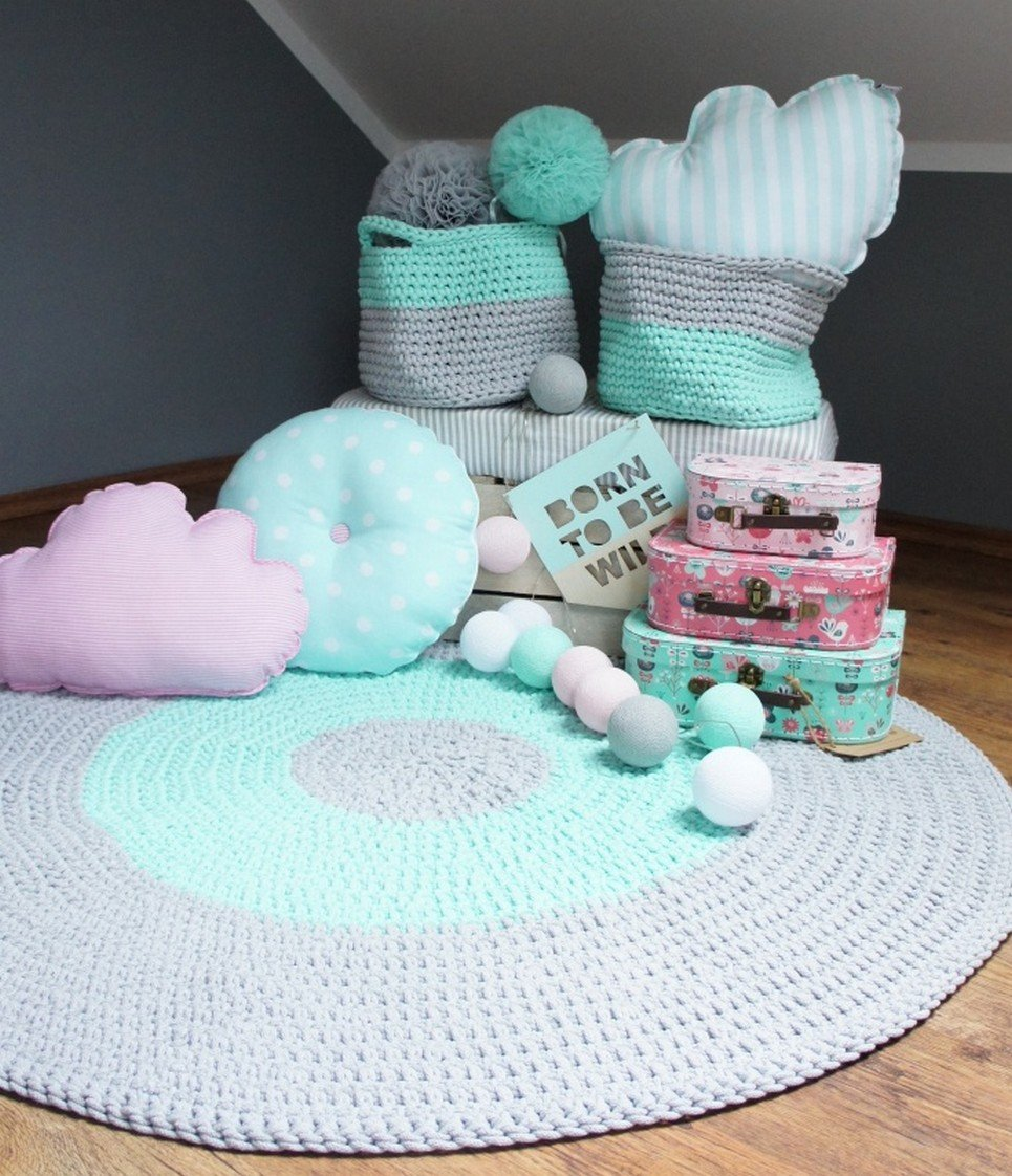 Grey And Mint Children Crochet Rug Children S Bedroom Rugs Carpets By A Matter Of Style