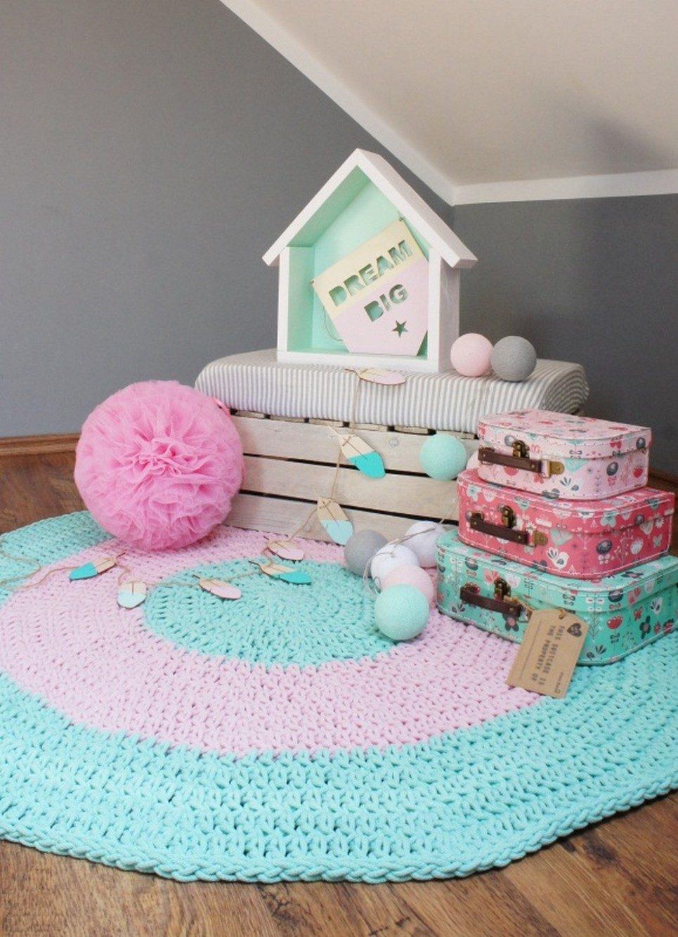 Mint and Pink Children Crochet Rug