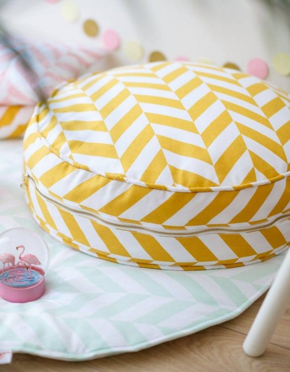 Great to have in a teenager's den, children's playroom or chill out zone, the Mustard Herringbone Children's Ottoman is wonderfully cute, cosy and a great centerpiece to any room.