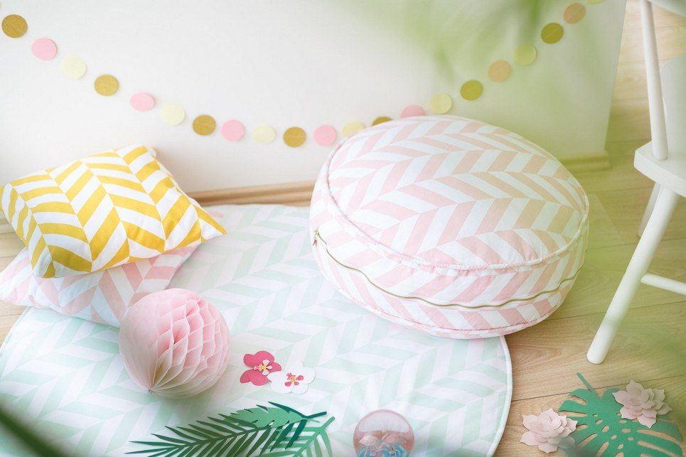 Pink Herringbone Children's Ottoman