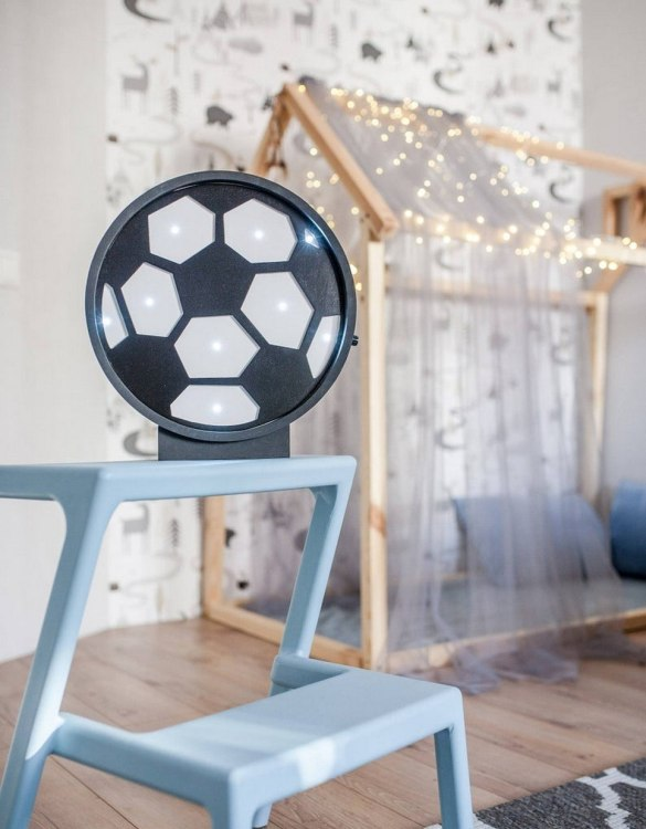 Perfect for setting a calm moon in your kid's bedroom, the Football Decorative Night Light gives a soft glow when turned on.