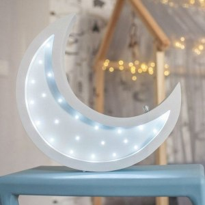 Perfect for setting a calm moon in your kid's bedroom, the Half Moon Decorative Night Light gives a soft glow when turned on.