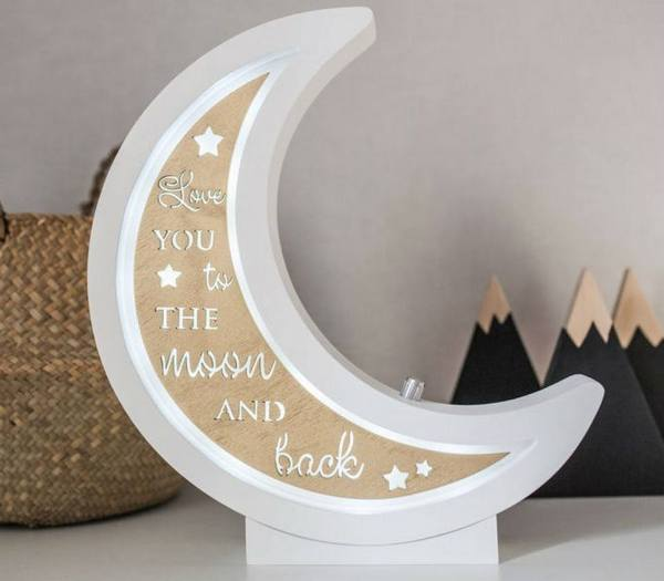 Half Moon Decorative Wood Night Light – 7