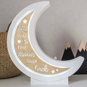 Perfect for setting a calm moon in your kid's bedroom, the Half Moon Decorative Wood Night Light gives a soft glow when turned on.