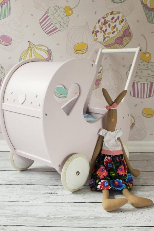 Handmade Wooden Doll Pram Heart Beige-Pink