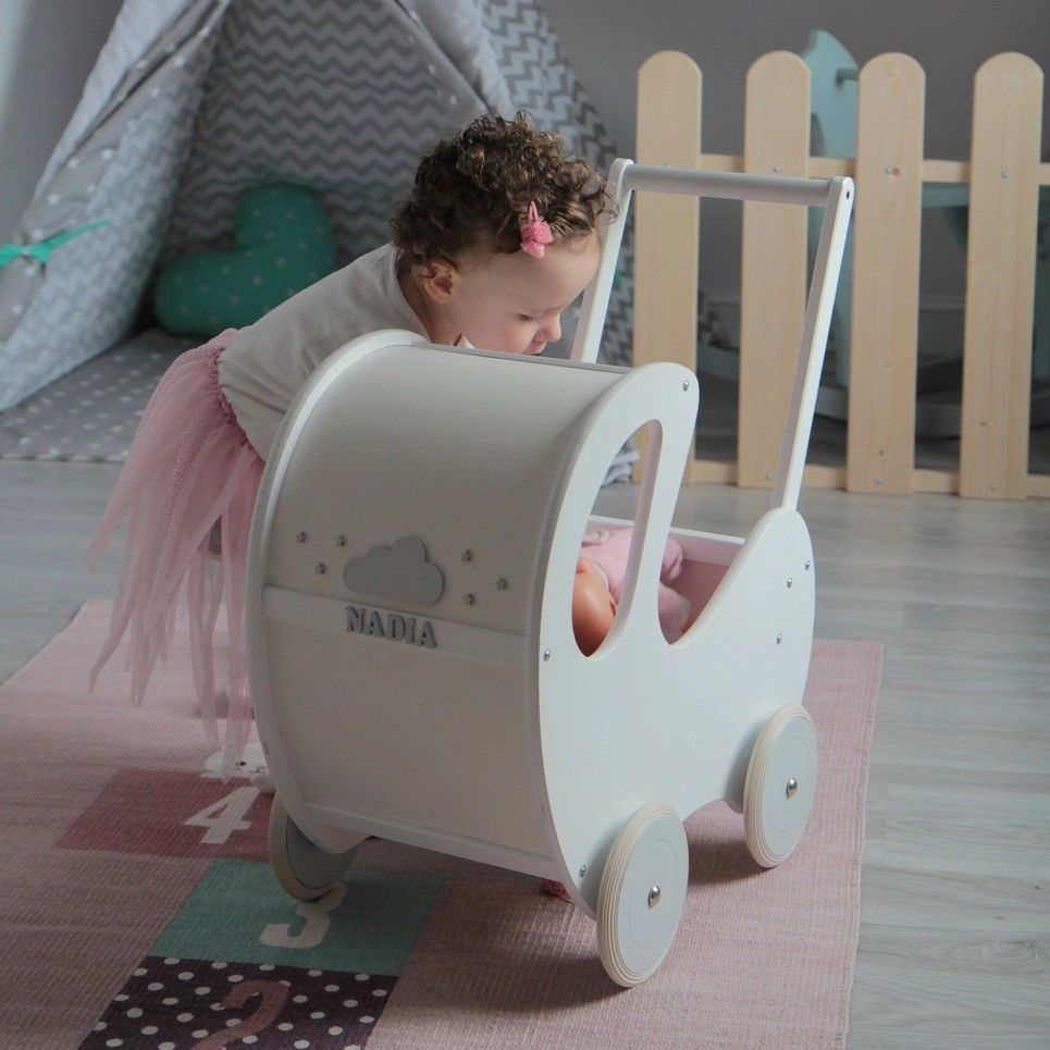 Handmade Wooden Doll Pram White & Grey