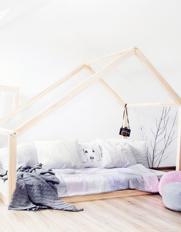Turn bedtime into a magical adventure with this charming little bed house. The Kids Bed House Milla DM is an elegant wooden bed designed to become the focal point of your bedroom. An amazing place for children where they can sleep and play.