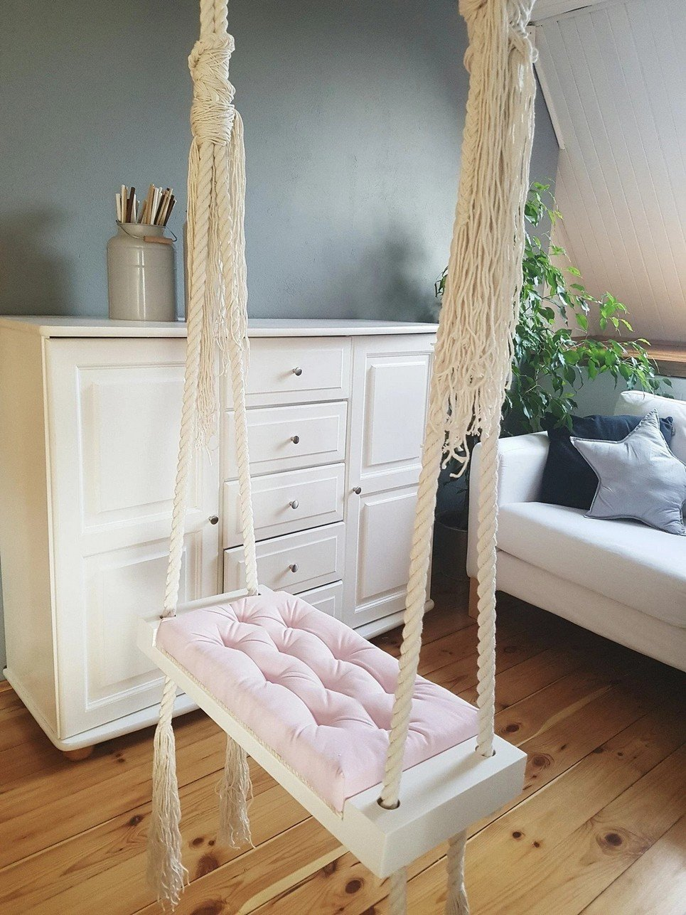 Wooden Indoor Swing Pink