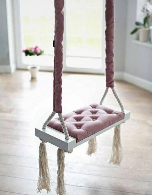 Whether you want it to take you to the moon or simply be a fun place to hang out, the Wooden Swing Vintage Dirty Pink Velvet offers great fun for toddlers. Every child loves to play on a toddler swing. This unique toddler wooden swing is beautifully handsaw and an absolute classic. This wooden swing set would also make a lovely gift and is ideal for smaller gardens.