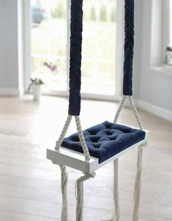 Whether you want it to take you to the moon or simply be a fun place to hang out, the Wooden Swing Vintage Navy Blue Velvet offers great fun for toddlers. Every child loves to play on a toddler swing. This unique toddler wooden swing is beautifully handsaw and an absolute classic. This wooden swing set would also make a lovely gift and is ideal for smaller gardens.