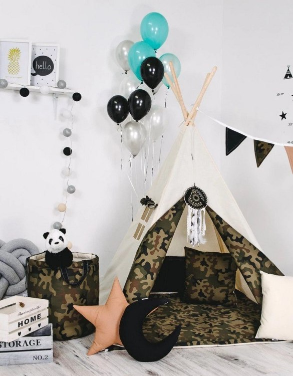 Give your little one the space they need to let their imagination flow with the Child's Teepee Set Little Soldier. This handcrafted children's teepee tent is a versatile play space which is as beautiful as it is fun.