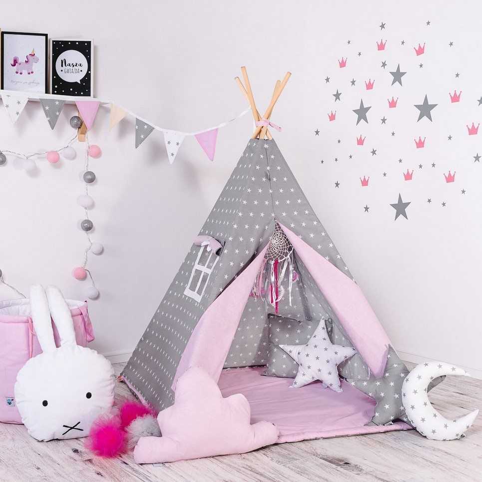 Child's Teepee Set Pink Powder