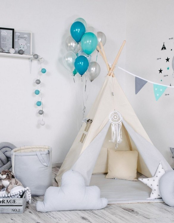 Give your little one the space they need to let their imagination flow with the Child's Teepee Set Polar Bear. This handcrafted children's teepee tent is a versatile play space which is as beautiful as it is fun.