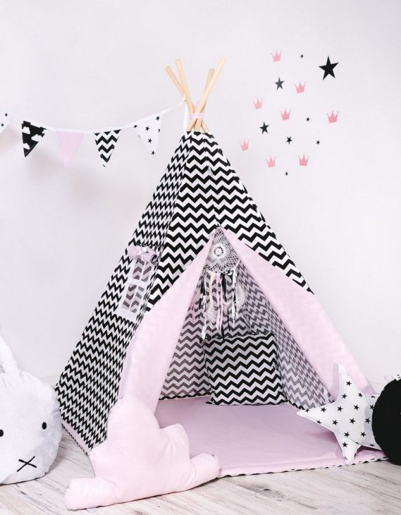 Give your little one the space they need to let their imagination flow with the Child's Teepee Set Powder Design. This handcrafted children's teepee tent is a versatile play space which is as beautiful as it is fun.