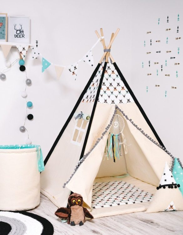 Give your little one the space they need to let their imagination flow with the Child's Teepee Set Stag Beetles. This handcrafted children's teepee tent is a versatile play space which is as beautiful as it is fun.
