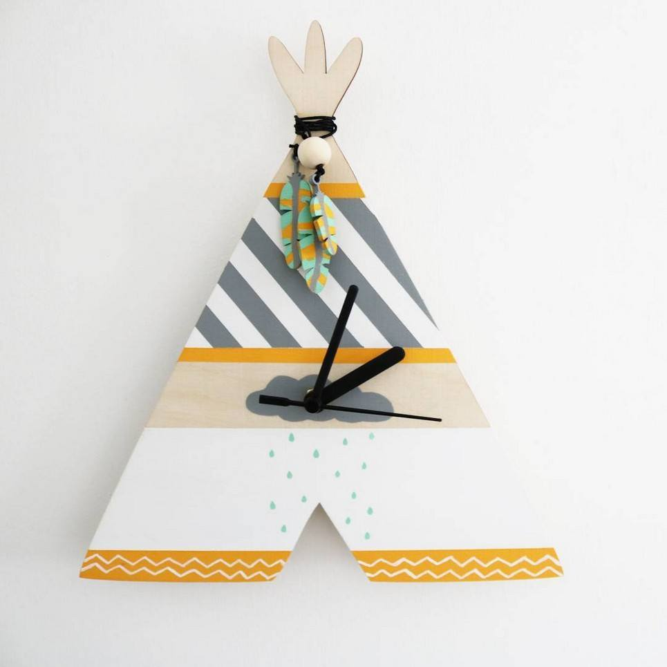 Decorative Wall Clock – Teepee (Rain Cloud Design)