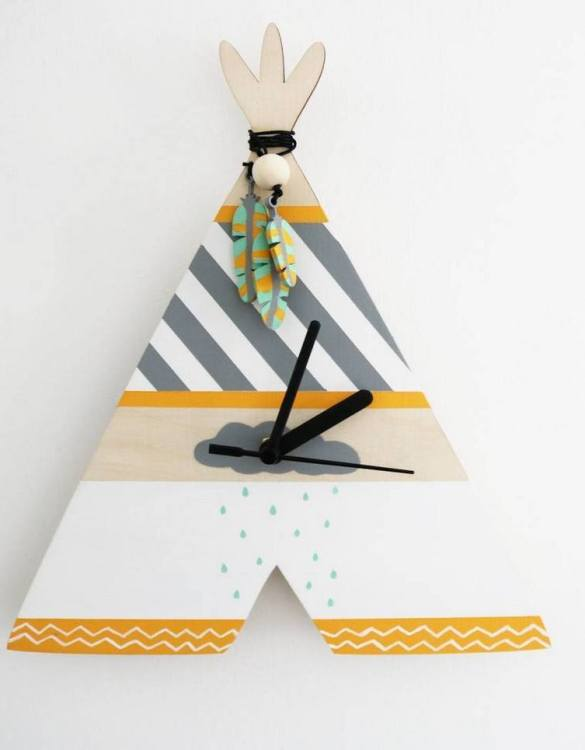 Can be hung up on a wall or placed on a shelf the Decorative Wall Clock - Teepee (Rain Cloud Design) will make learning to tell the time lots of fun for young children. This bedroom wall clock looks amazing on the wall of a daughter, son, grandchild, or godchild's playroom, bedroom or nursery.