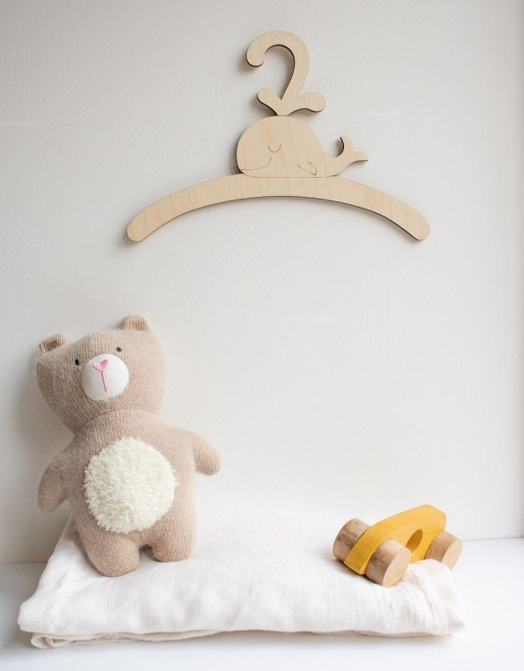 A sweet way to hang your baby clothes or to use as an everyday storage solution, the Little Whale Child's Coat Hanger adds a touch of elegance to your wardrobe or downstairs coat closet.
